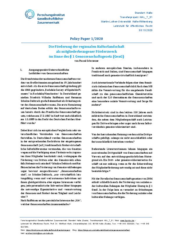 [Open Access]Die Förderung der regionalen Kulturlandschaft als mitgliederbezogener Förderzweck im Sinne des §1 Genossenschaftsgesetz (GenG)