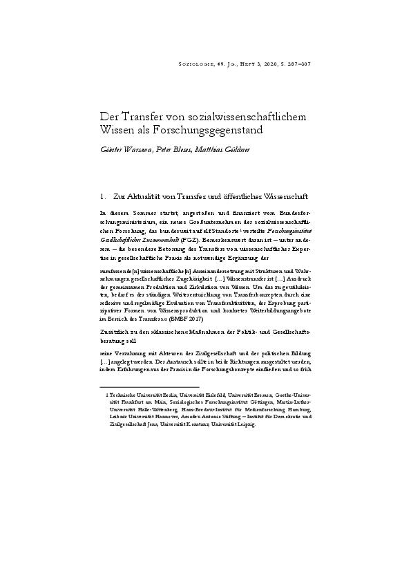 [Open Access] Der Transfer von sozialwissenschaftlichem Wissen als Forschungsgegenstand
