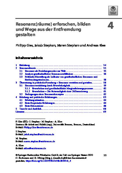 [Open Access] Resonanz(räume) erforschen, bilden und Wege aus der Entfremdung gestalten.