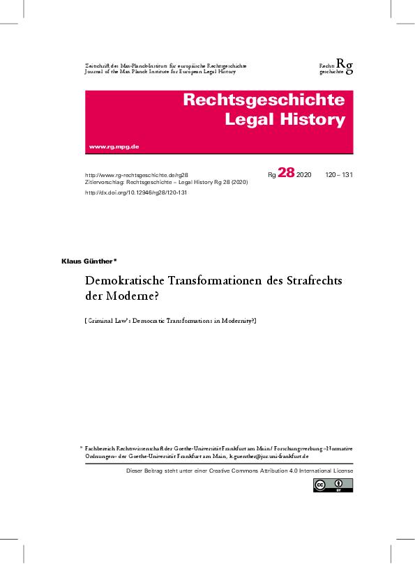 [Open Access] Demokratische Transformationen des Strafrechts der Moderne?